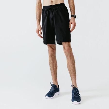 KALENJI - Medium  Run Dry+ Men's Running Long Shorts With Integrated Undershorts, Black