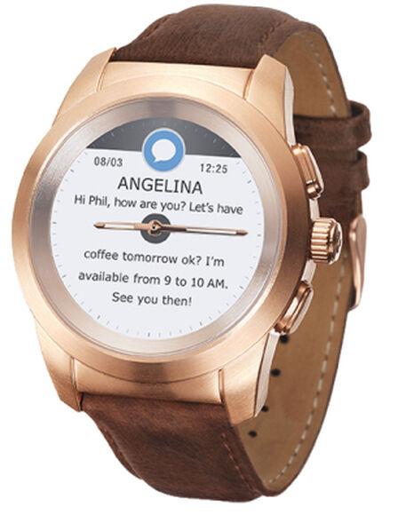 MYKRONOZ - MyKronoz ZeTime Premium Brushed Pink with Brown Leather Band Hybrid Smart Watch Petite 39mm
