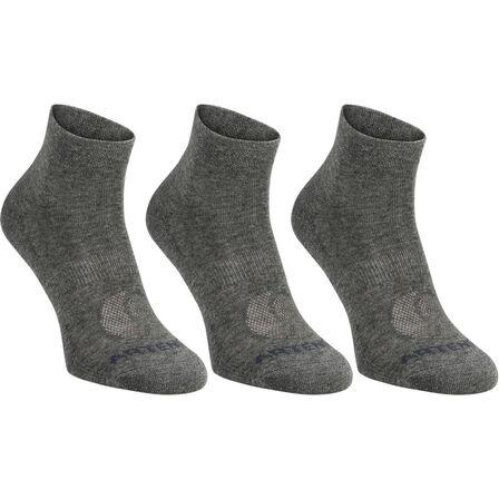 ARTENGO - EU 39-42  RS 160 Adult Mid-High Sports Socks Tri-Pack, Dark Grey