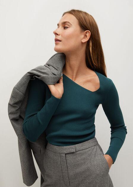 Mango - Dark Blue Asymmetric Knit Sweater