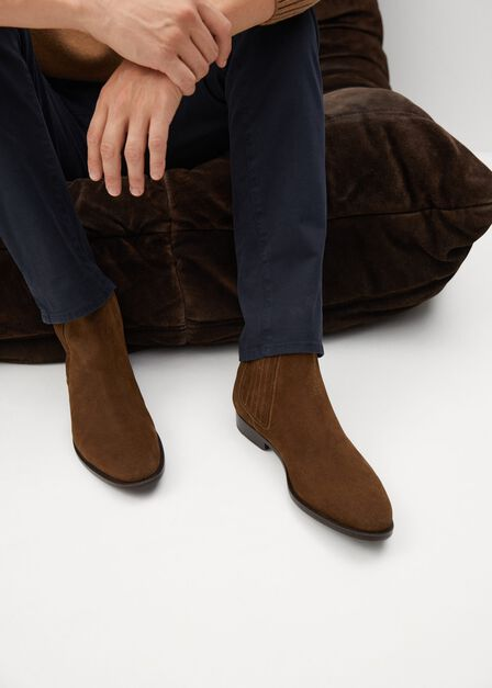 Mango - brown Leather Chelsea ankle boots