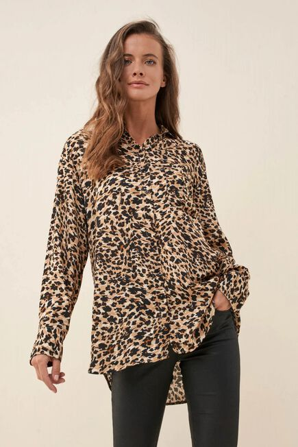 Salsa Jeans - Beige Regular fit shirt with leopard print