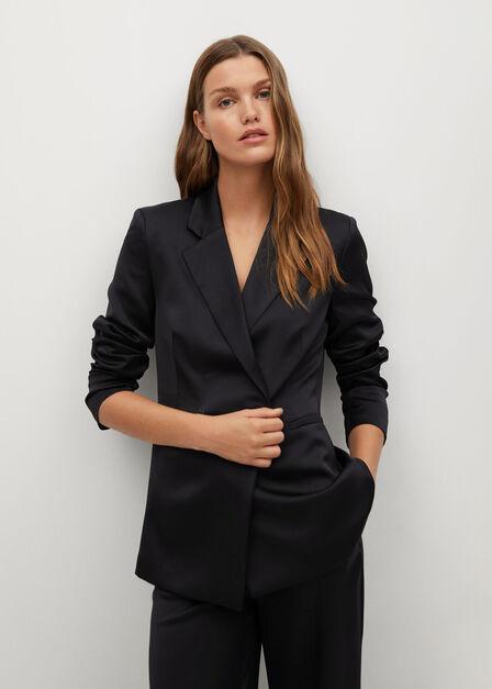 Mango - black Satin suit blazer