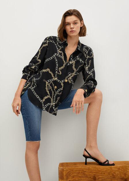 Mango - black Chain print shirt