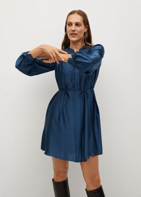 Mango - medium blue Pleated satin dress