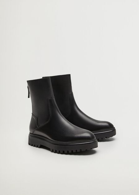 Mango - Black Leather Boots With Track Sole