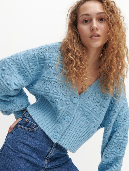 Reserved - Cropped cardigan with V neck - Blue