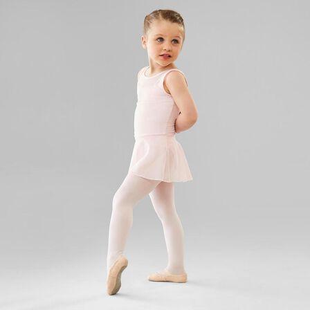 DOMYOS - 4-5 Years  Girls' Mixed Media Ballet Skirted Leotard, Candyfloss