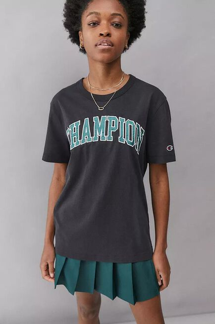 Urban Outfitters - Black Champion UO Exclusive Washed College T-Shirt, Women