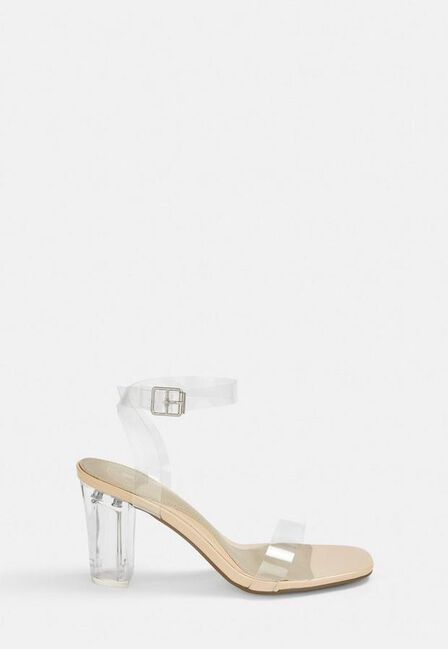 Missguided - Nude Nude Clear Mid Block Heels