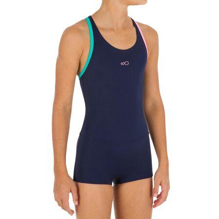 NABAIJI - 10-11Y  Leony Girls' One-Piece Shorty Legsuit Swimsuit - Navy, Navy Blue