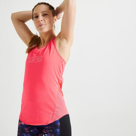 DOMYOS - Small  Energy Women's Printed Cardio Fitness Tank Top, Fluo Coral Pink