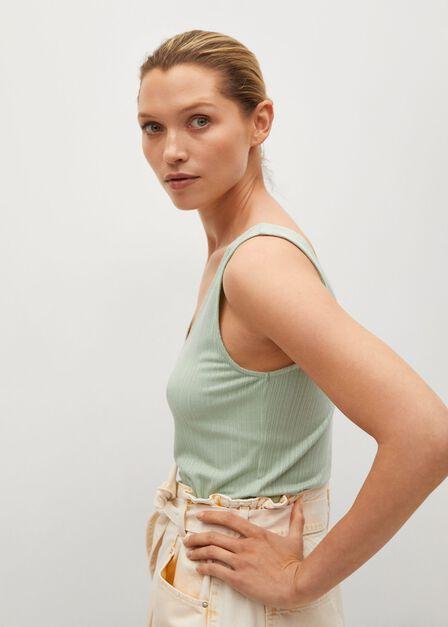 Mango - green Essential strap top, Women
