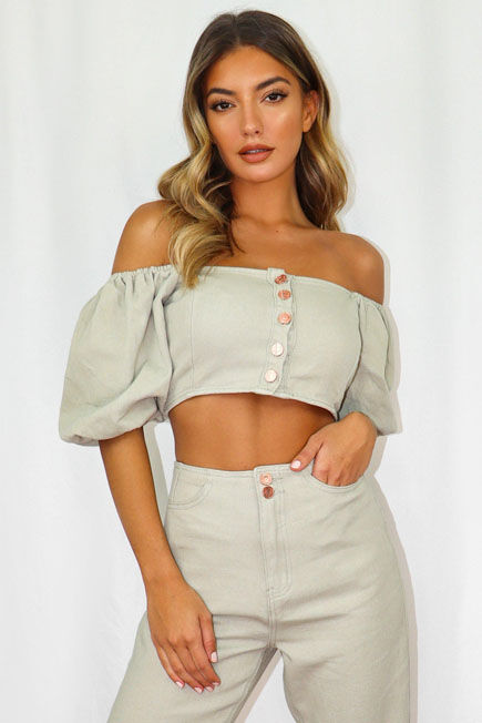 Missguided - Green Sage Co Ord Puff Sleeve Denim Crop Top