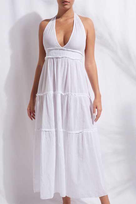 Calzedonia - White Long Fabric Dress With Drawstring, Women - One-Size
