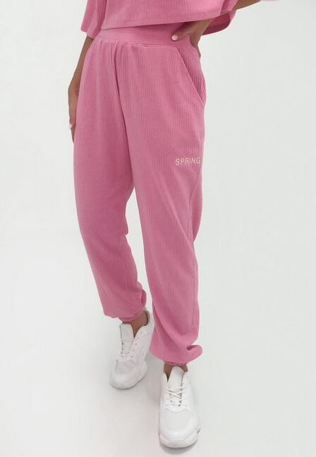 Missguided - Pink Co Ord Spring Summer Rib Joggers