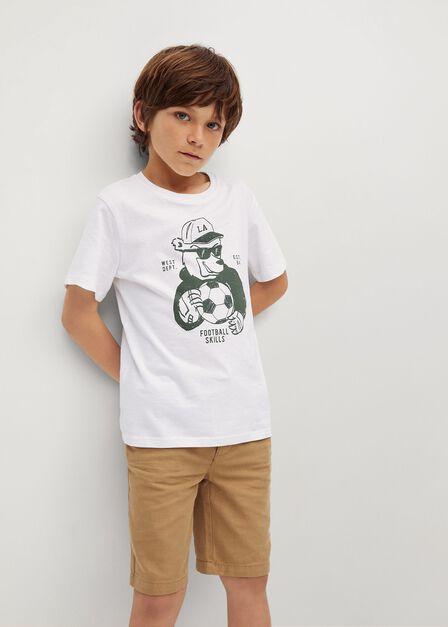 Mango - Natural White Printed Cotton-Blend T-Shirt, Kids Boy