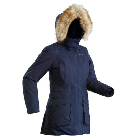 QUECHUA - L Women's Hiking Warm Waterproof Parka Sh500 U-Warm - Asphalt Blue