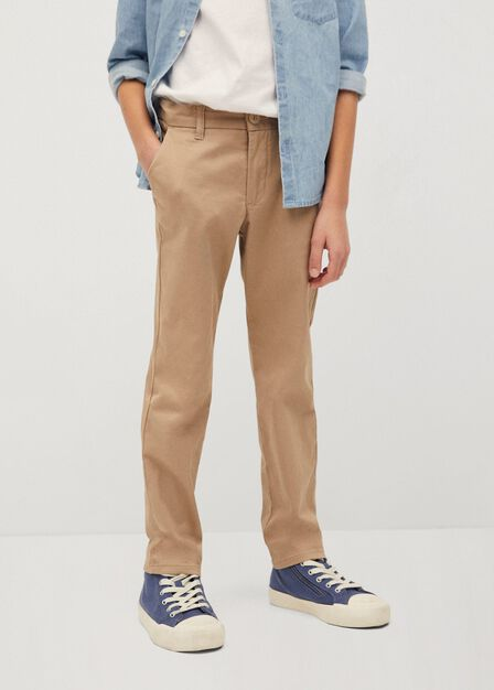 Mango - light beige Straight trousers