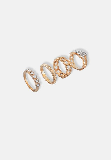Missguided - Gold Pave Chain Ring Pack