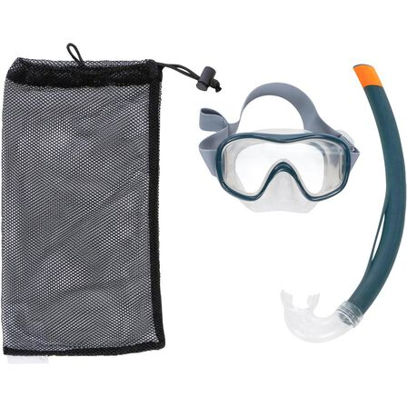 SUBEA - Small  FRD100 freediving snorkel mask kit for adults and children, Storm Grey