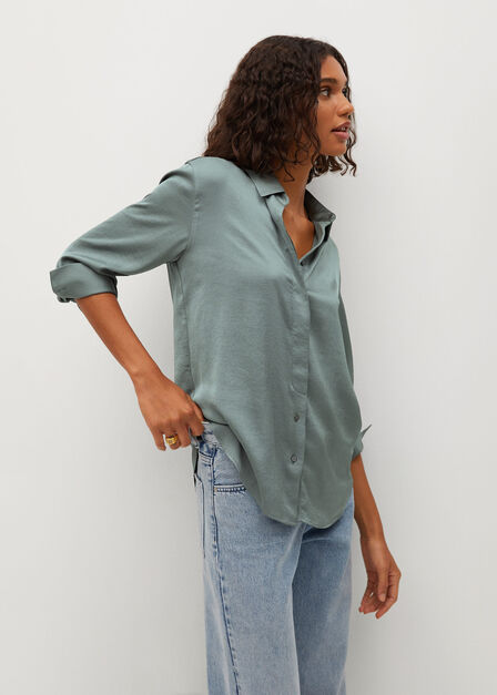 Mango - green Satin finish flowy shirt