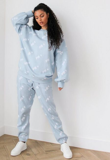Missguided - Blue Playboy X Missguided Repeat Print Joggers