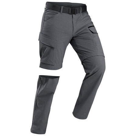 FORCLAZ - W30 L33  Men's trekking convertible travel trousers - TRAVEL 500 CONVERT, Carbon Grey