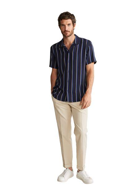 Mango - navy Fluid striped regular-fit shirt