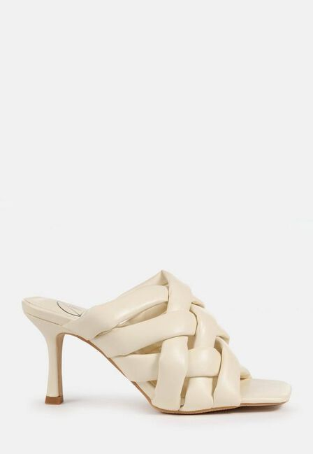 Missguided - Cream Padded Woven Cross Over Mules