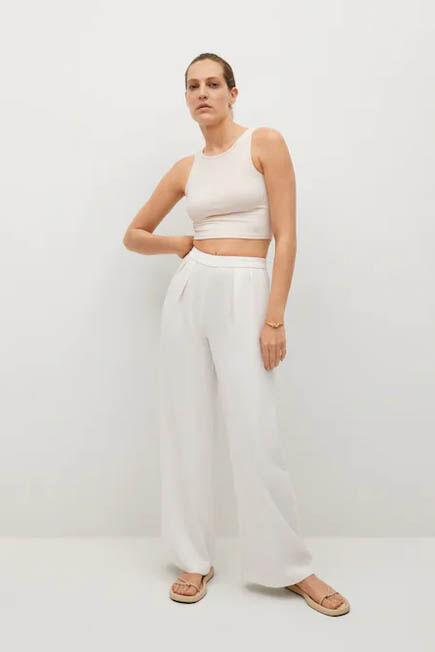 Mango - white Pleat detail trousers, Women