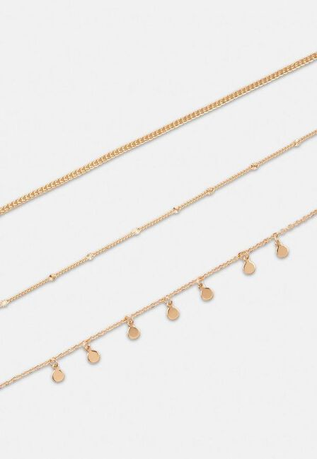 Missguided - Gold Gold Look 3 Row Drop Chain Necklace