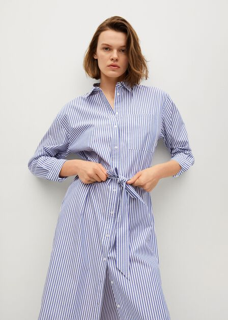 Mango - medium blue Cotton shirt dress