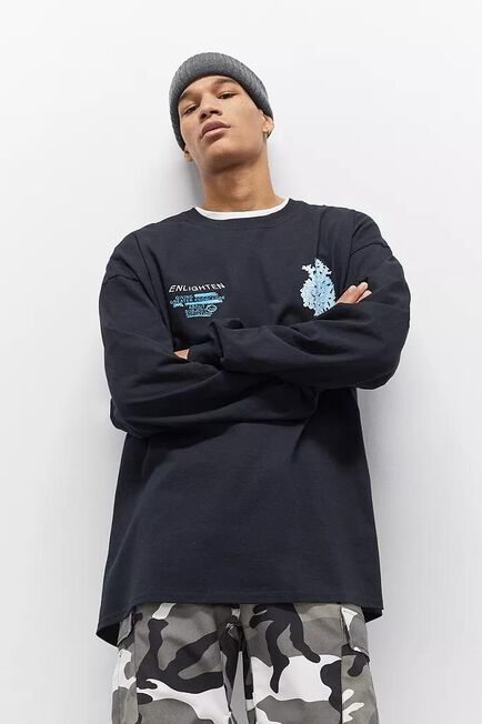 Urban Outfitters - Black UO Enlightenment Long-Sleeve T-Shirt, Men