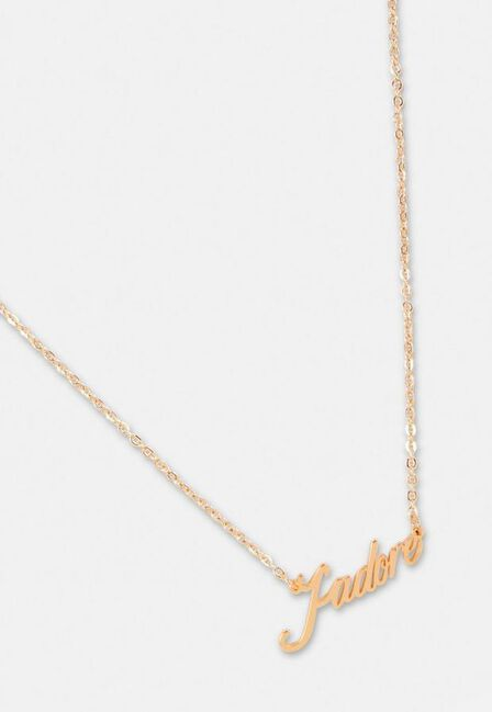 Missguided - Gold Gold Look J'Adore Pendant Necklace