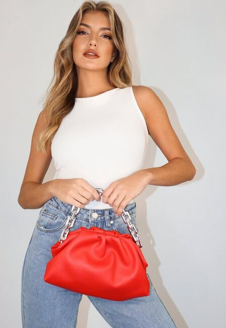 Missguided - Red Rectangular Chain Pouch Bag