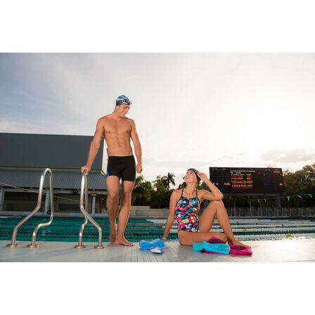 NABAIJI - Black blue 500 men's long swimming boxer shorts