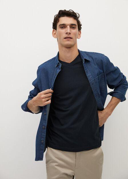 Mango - Navy 100% sustainable cotton t-shirt