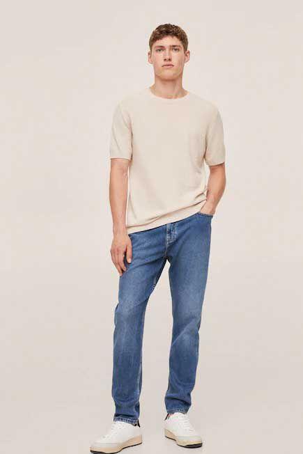 Mango - Open Blue Tapered-Fit Lyocell Tom Jeans, Men