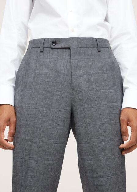 Mango - medium grey Slim fit check suit trousers, Men