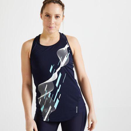 DOMYOS - M/L Energy Women's Printed Cardio Fitness Tank Top - Asphalt Blue