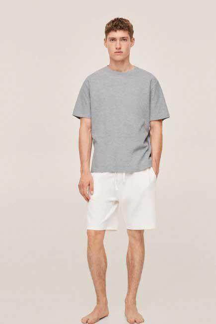 Mango - lt pastel grey Cotton pyjama shorts pack, Men