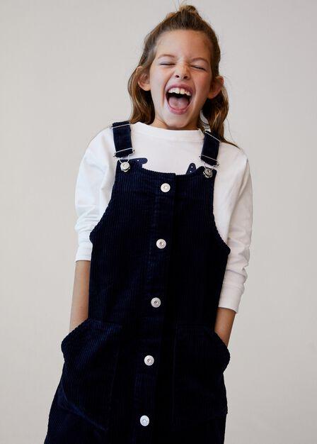 Mango - medium blue Buttons corduroy pinafore dress