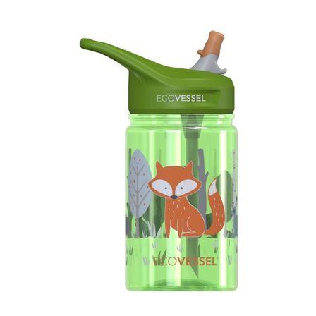 ECO VESSEL - EcoVessel Fox splash Kids Water Bottle With Flip Straw 350 ml