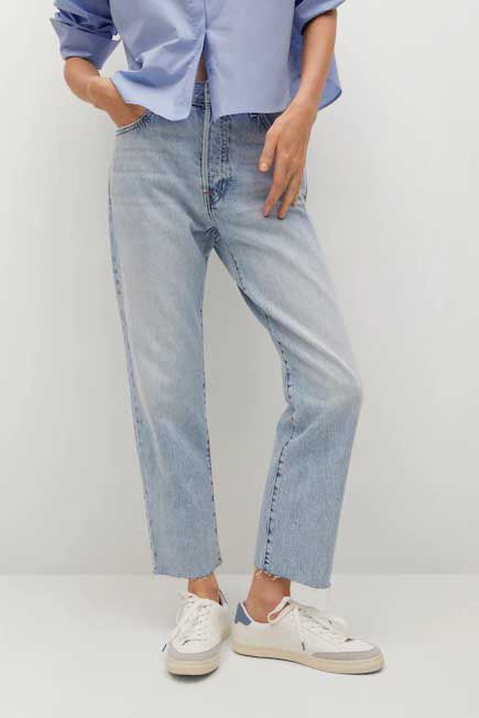 Mango - open blue Ankle-length straight-fit jeans