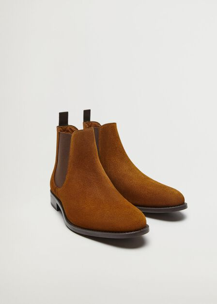 Mango - lt pastel brown Suede Chelsea ankle boots