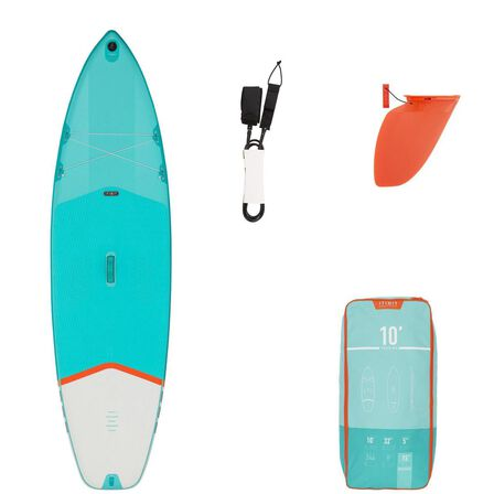 ITIWIT - Unique Size  BEGINNER INFLATABLE TOURING STAND-UP PADDLE BOARD 10 FEET, Turquoise Green