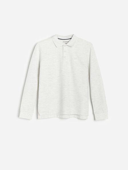Reserved - White Long-Sleeved Melange Polo Shirt, Kids Boy
