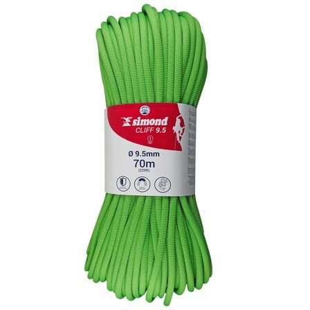 SIMOND - Unique Size  Climbing Rope 9.5 mm x 70 m - Cliff Green, Fluo Lime