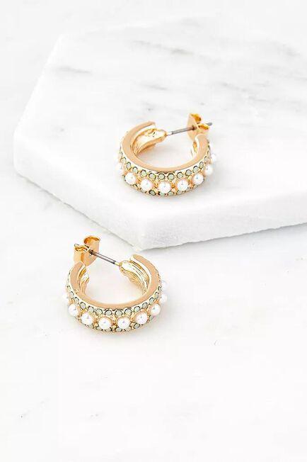 Urban Outfitters - GOLD Gold-Tone Pearl & Gemstone Hoop Earrings